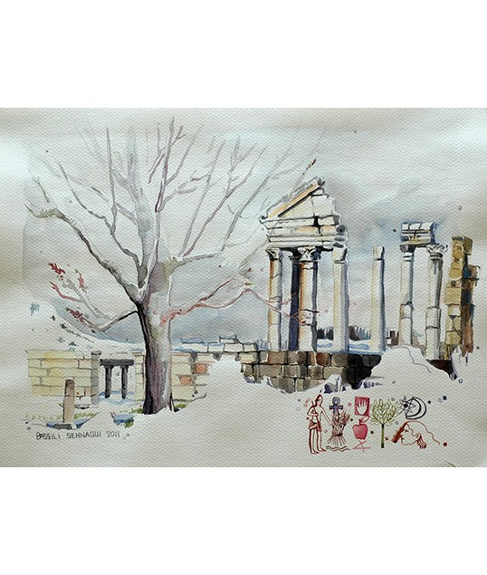 Faqra-Temple-In-The-Snow-34x46cm
